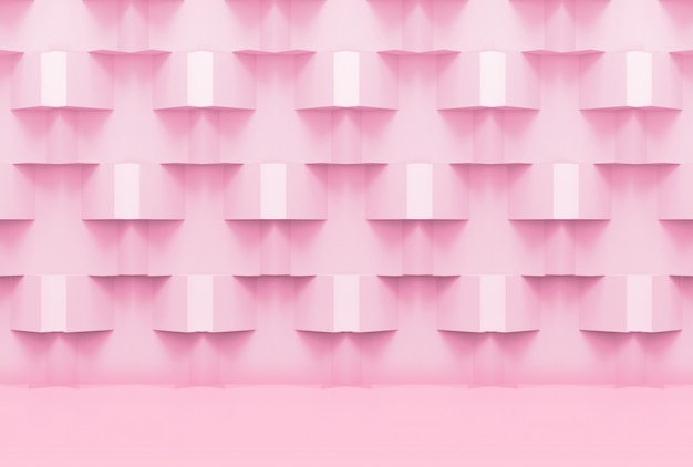 Couleur rose tendre doux ton grille carré boîte pile design mur fond.