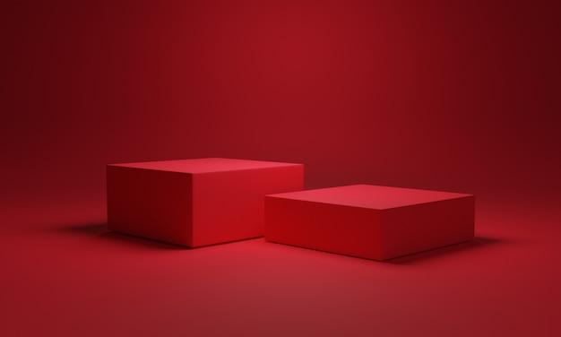 Couleur rouge minimale de deux podiums de cubes vierges et arrière-plan pour montrer la présentation du produit, concept technique de rendu 3d.