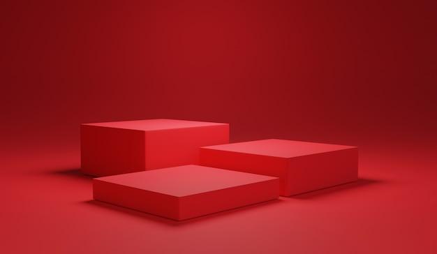 Couleur rouge minimale de trois podiums de cubes vierges et arrière-plan pour montrer la présentation du produit, concept technique de rendu 3d.