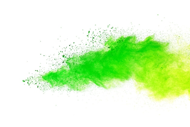 De couleur verte éclaboussée sur fond blanc.