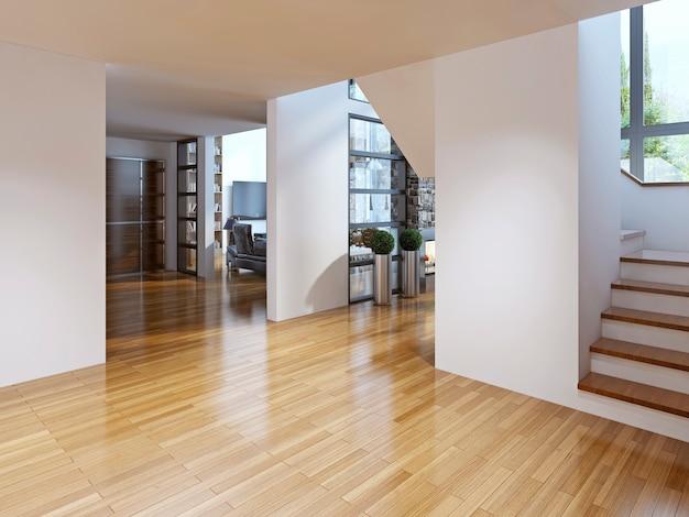Couloir avec accès à la salle à manger et au salon, escalier au deuxième étage.