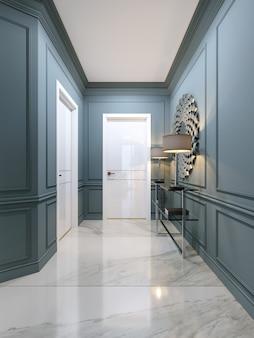 Le couloir de l'appartement avec une console en métal moderne avec des étagères en verre et des lampes lumineuses