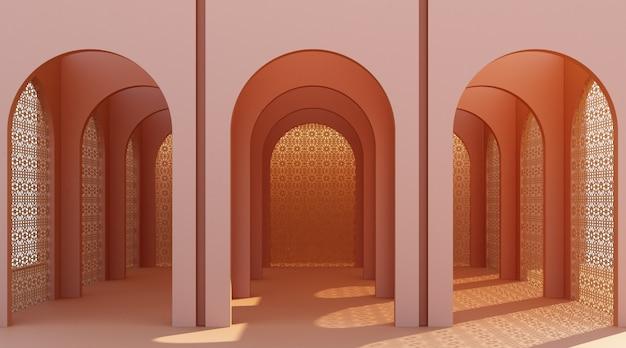 Couloir en arc minimaliste avec fenêtres
