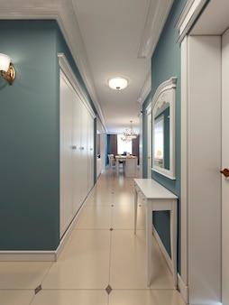 Couloir classique avec cuisine sur fond de couleur bleu et blanc avec grande armoire et console.