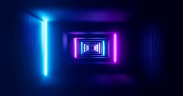 Couloir futuriste avec lampes au néon