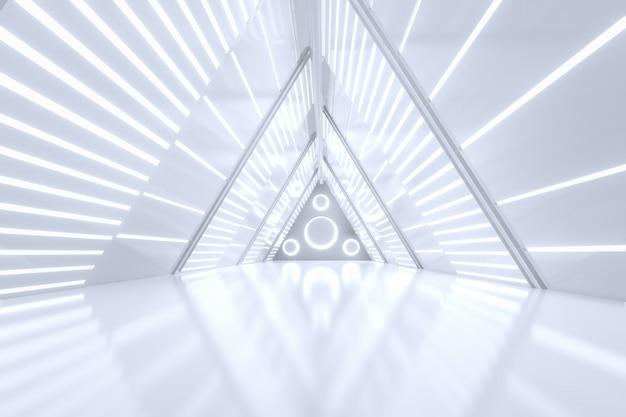 Couloir métallique endommagé sci-fi grunge