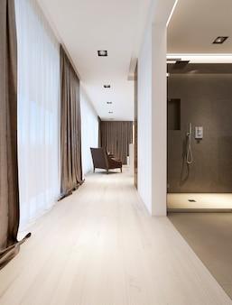 Couloir de la salle de bain à la chambre. rendu 3d