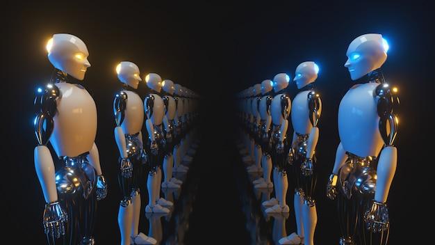 Un couloir sans fin de robots se faisant face