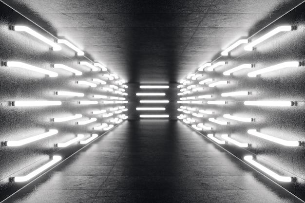 Couloir sombre futuriste abstrac rendu 3d avec des néons. lumière rougeoyante. architecture futuriste