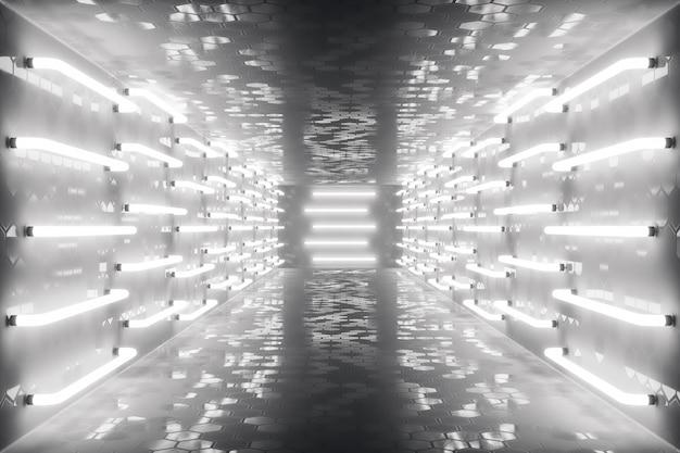 Couloir sombre futuriste abstrac rendu 3d avec des néons. lumière rougeoyante. fond d'architecture futuriste