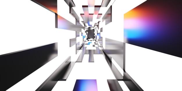 Couloir tunnel futuriste avec néons technologie fond d'écran couloir lumineux