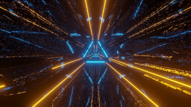 Couloir de tunnel pixélisé triangle de science-fiction futuriste