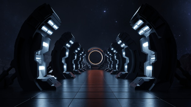 Couloir vide sombre vers le futur