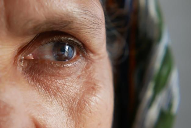 Coup de détail des yeux des femmes âgées asiatiques