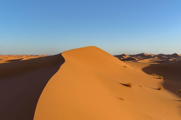 Coup de dunes dans le désert du sahara, maroc