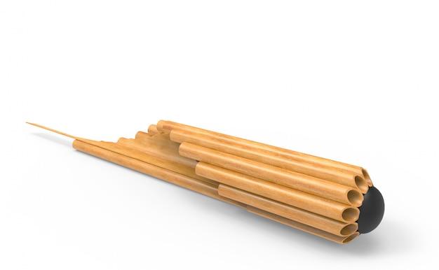 Coup de flûte musicale thaïlandaise, casserole en bambou khean avec un tracé de détourage.