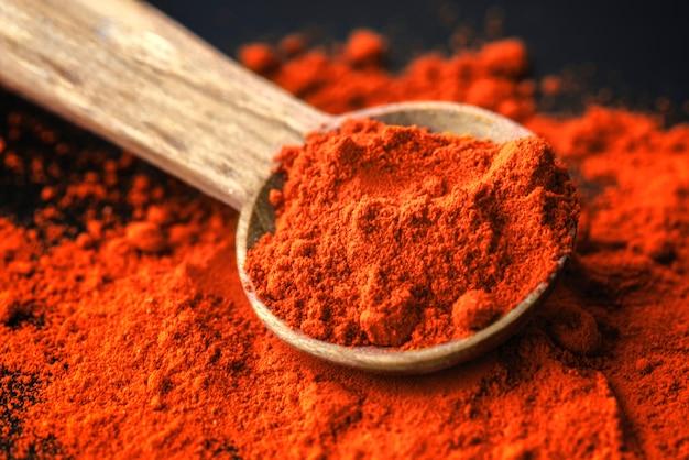 Coup de macro de poudre de chili au paprika