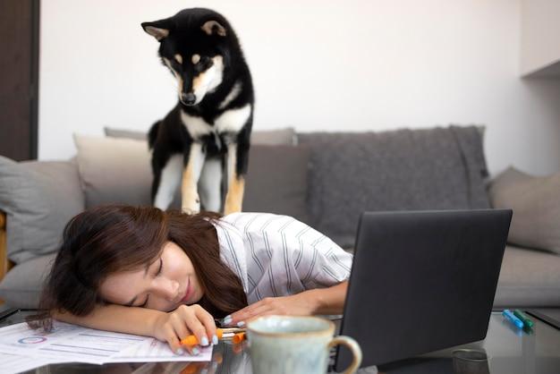 Coup moyen chien assis sur femme