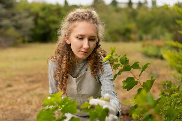 Coup moyen femme vérifiant les feuilles