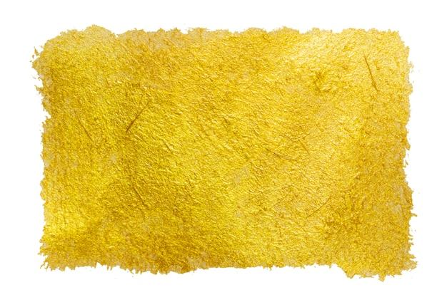 Coup de peinture de couleur dorée isolé.