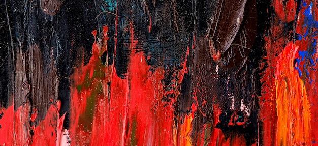 Coup de pinceau art coloré sur toile abstrait et texturé.