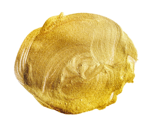 Coup de pinceau d'or métallique sur fond blanc