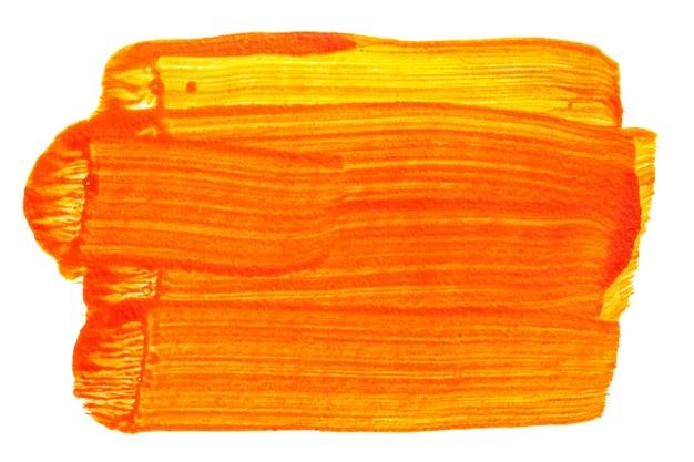 Coup de pinceau orange isolé sur fond blanc. grande texture abstraite, espace pour votre propre texte