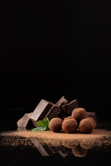 Coup de studio de délicieux chocolat