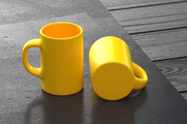 Coupe de couple jaune isolé sur jaune