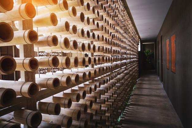 Coupe du bois de bambou, fond de coupe en bambou pour décorer
