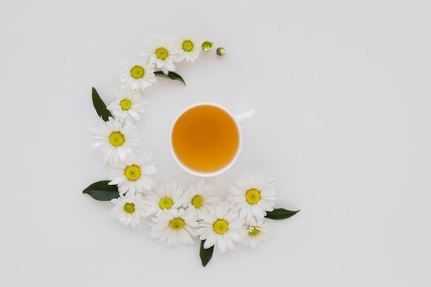 Coupe du thé vue de dessus entourée de fleurs