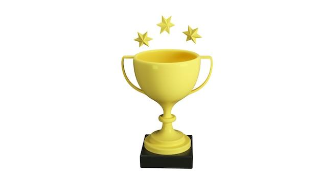 Coupe pour la première place et étoiles isolés sur fond blanc illustration de trois d