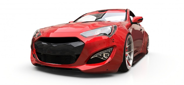 Coupé rouge petite voiture de sport sur fond blanc