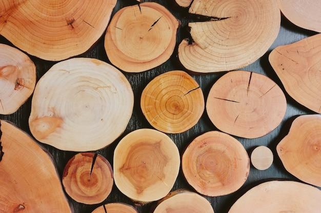 Coupe transversale de troncs d'arbres montrant des cernes de croissance. sur fond en bois