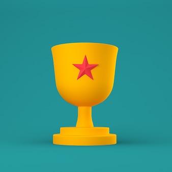 Coupe trophée orange avec étoile rouge sur pastel.