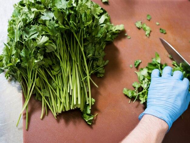Couper des herbes pour une salade. persil vert frais. une bonne nutrition, concept d'alimentation végétalienne