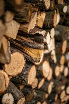 Coupez le bois de chauffage collé les uns sur les autres dans le support à bois de chauffage
