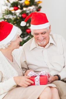 Couple âgé, échanger, noël, présente