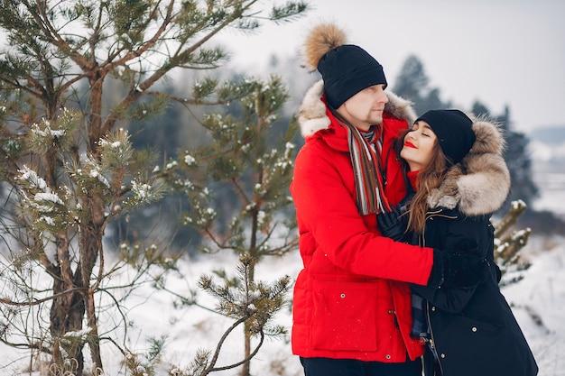 Couple d'amoureux marchant dans un parc d'hiver