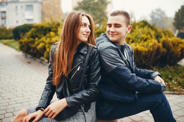 Couple, automne, parc