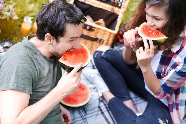 Couple bénéficiant d'un pique-nique dans le parc