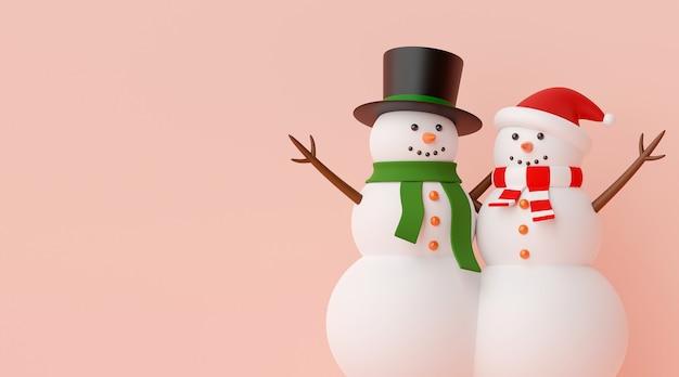 Couple de bonhomme de neige sur fond rose rendu 3d