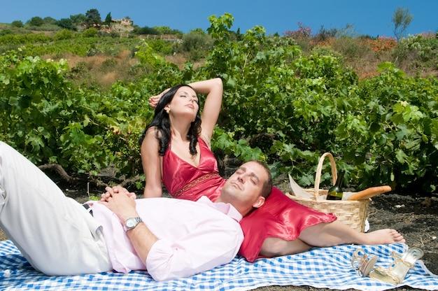 Couple célébrant un pique-nique au milieu d'un vignoble