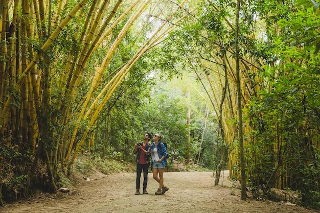 Couple sur le chemin dans la forêt de bambous