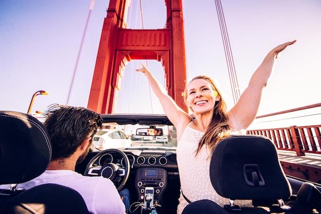 Couple, conduite, cabriolet, voiture