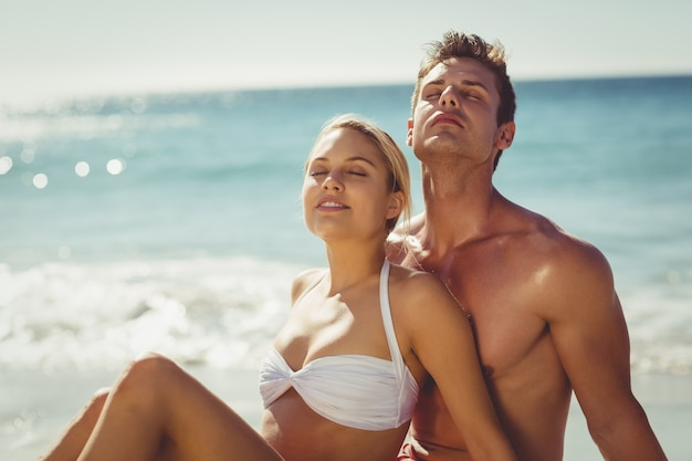 Couple, délassant, plage