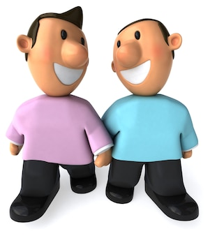 Couple de deux garçons heureux illustration 3d