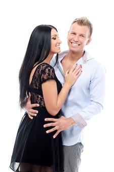 Couple doux et sexy ayant une séance photo en studio