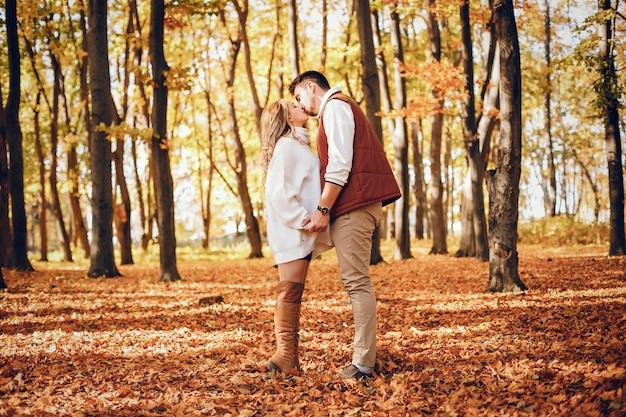 Couple élégant dans un parc d'automne ensoleillé