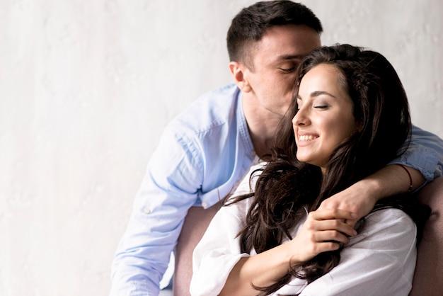Couple, être, romantique, copie, espace